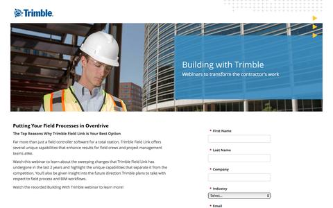 Screenshot of Landing Page trimble.com captured March 9, 2017