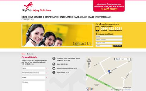 Screenshot of Contact Page sliptripclaim.co.uk - Slip Trip Injury Solicitors Contact US - captured Oct. 27, 2014
