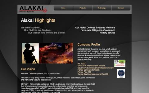 Screenshot of About Page alakaidefense.com - Alakai Defense Systems Company Highlights and Profile - captured Nov. 20, 2016