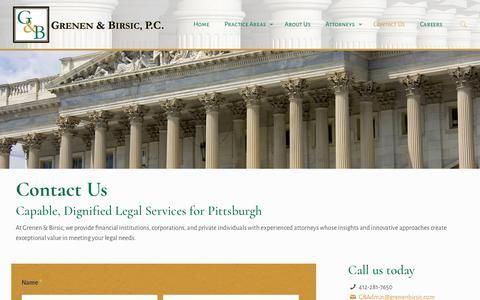 Screenshot of Contact Page grenenbirsic.com - Contact Grenen & Brisic, P.C. Pittsburgh Attorneys - captured Sept. 30, 2018