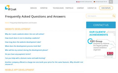 Screenshot of FAQ Page itechcraft.com - Frequently Asked Questions and Answers From The Web Development Company in USA and Germany - captured June 23, 2019