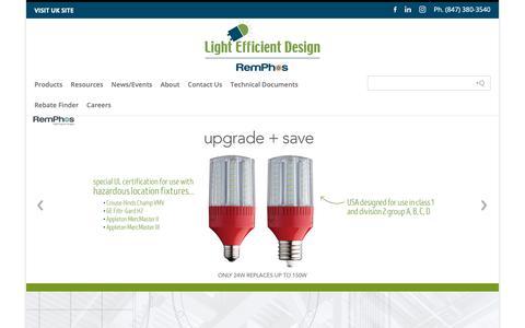Screenshot of Home Page led-llc.com - LED   Transforming Light - Light Efficient Design   LED for HID Retrofit Lamps - captured May 18, 2019
