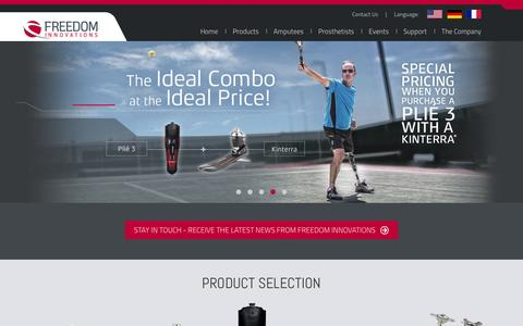 Screenshot of Home Page freedom-innovations.com - Freedom Innovations | Prosthetic Feet - captured Jan. 8, 2016