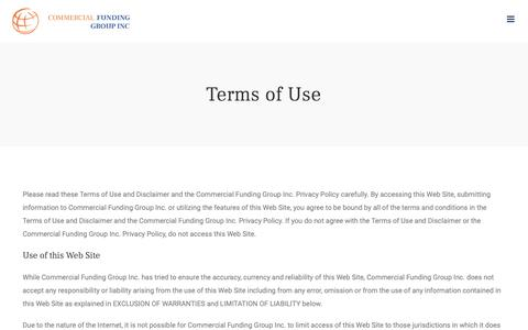 Screenshot of Terms Page commercialfundinggroup.com - Terms of Use – Commercial Funding Group Inc. - captured Dec. 15, 2018