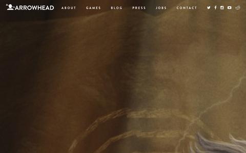 Screenshot of Home Page arrowheadgamestudios.com - Start - Arrowhead - captured Dec. 26, 2015