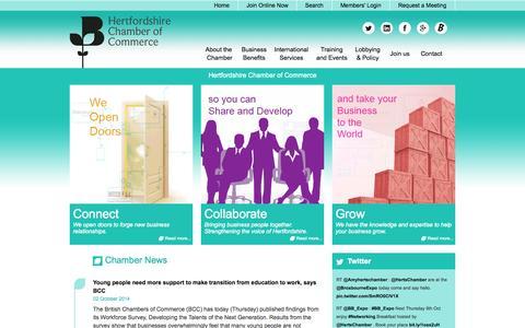 Screenshot of Home Page hertschamber.com - Hertfordshire Chamber of Commerce - captured Oct. 2, 2014