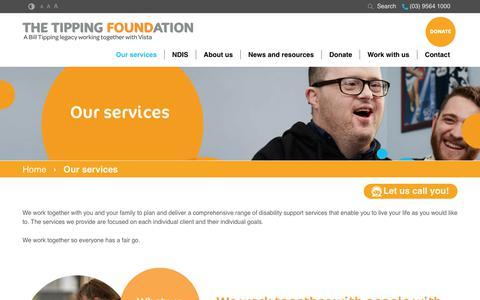 Screenshot of Services Page tipping.org.au - Disability Support Services Victoria - NDIS   The Tipping Foundation - captured July 7, 2017