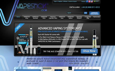 Screenshot of Home Page vapestick.co.uk - VAPESTICK Electronic Cigarettes - The Ultimate E-Cigarette - captured Jan. 23, 2015