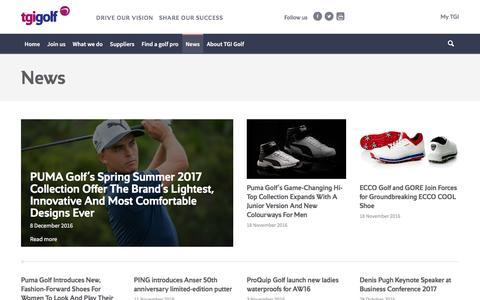 Screenshot of Press Page tgigolf.com - News - captured Dec. 19, 2016