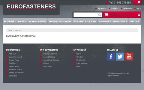 Screenshot of About Page eurofasteners.co.uk - About  Us - captured Oct. 3, 2014