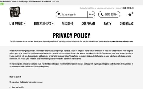 Screenshot of Privacy Page warble-entertainment.com - Privacy Policy - Warble Entertainment Agency - captured Dec. 25, 2019