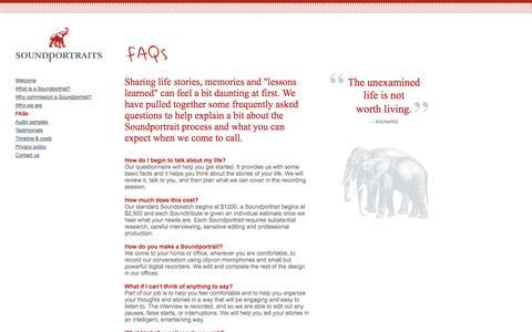 Screenshot of FAQ Page soundportraits.ca - Soundportraits: a small Canadian company - FAQs - captured Sept. 30, 2014