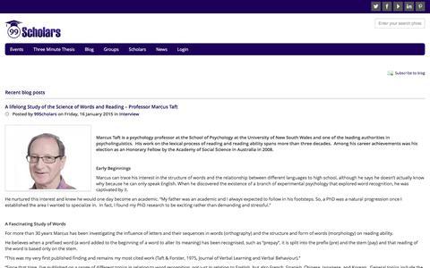 Screenshot of Blog 99scholars.net - Interviews with academic researchers - 99Scholars - captured Feb. 24, 2016