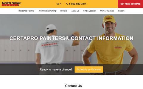 Screenshot of Contact Page certapro.com - CertaPro Contact Information - Contact Us - CertaPro Painters® - captured Aug. 30, 2019