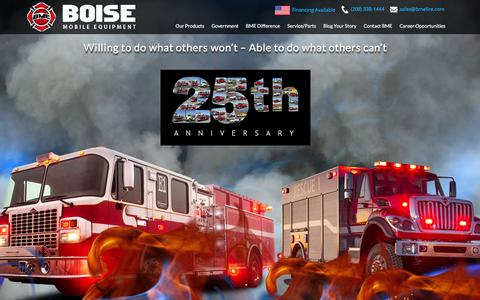 Screenshot of Home Page bmefire.com - Brush & Fire Truck Manufacturers | Custom Fire Apparatus - captured Feb. 7, 2016