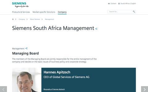 Screenshot of Team Page siemens.com - Management - About Siemens - South Africa - captured Feb. 2, 2018