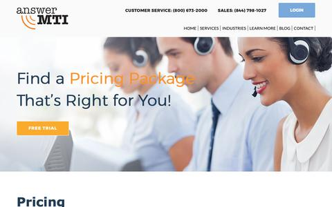 Screenshot of Pricing Page answermti.com - Answering Service Pricing | Real Agents. Real Results. - captured Oct. 3, 2018