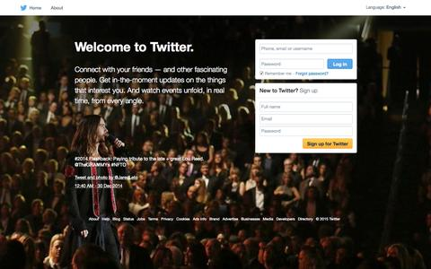 Screenshot of Home Page twitter.com - Welcome to Twitter - Login or Sign up - captured Sept. 20, 2015