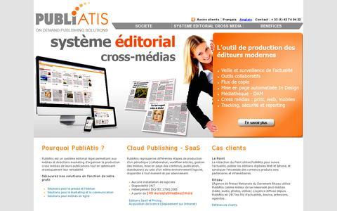 Screenshot of Home Page publiatis.com - PubliAtis : Le Systeme editorial nouvelle generation 100% web SaaS On Demand - captured July 11, 2014