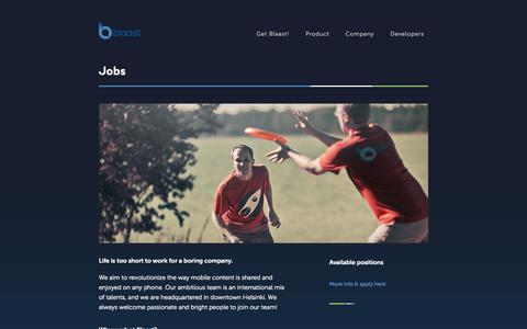 Screenshot of Jobs Page blaast.com - Blaast - captured Sept. 13, 2014
