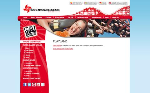 Screenshot of Hours Page pne.ca - Playland, Amusement Park, Vancouver, British Columbia, PNE - Pacific National Exhibition - captured Sept. 25, 2014