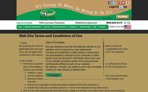 Screenshot of Terms Page bronz-glow.com - Home | Bronz-Glow HVAC Corrosion Protection St. Augustine, FL | Terms of Service - captured Oct. 11, 2017