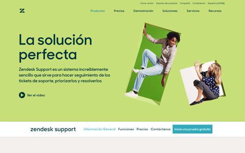 Screenshot of Support Page zendesk.com.mx - Atención al cliente y software de tickets con Zendesk Support - captured April 14, 2018