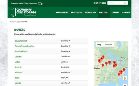 Screenshot of Locations Page cloverleaf.com - LOCATIONS - Cloverleaf Storage - captured Sept. 28, 2018