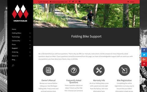 Screenshot of Support Page montaguebikes.com - Support | Montague Bikes - captured Nov. 29, 2016