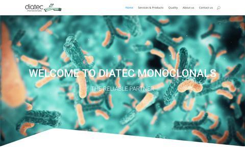 Screenshot of Home Page diatec.no - Diatec monoclonals | custom antibodies | services | products | - captured Nov. 14, 2018