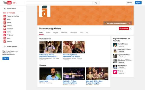 Screenshot of YouTube Page youtube.com - Schouwburg Almere  - YouTube - captured Oct. 26, 2014