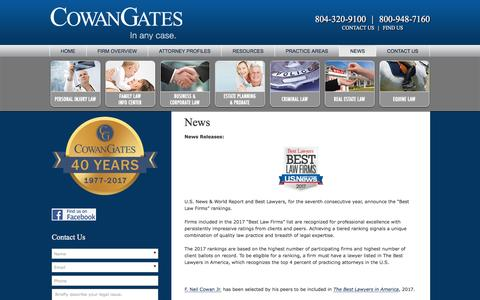 Screenshot of Press Page cowangates.com - In The News - Law Firm CowanGates Attorneys Richmond, Virginia - captured May 22, 2017