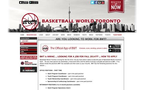 Screenshot of Jobs Page bwt.ca - ARE YOU LOOKING TO WORK FOR BWT? - captured Oct. 5, 2014