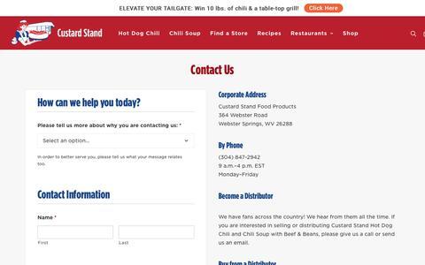 Screenshot of Contact Page custardstand.com - Contact Us :: Custard Stand - captured Nov. 14, 2016