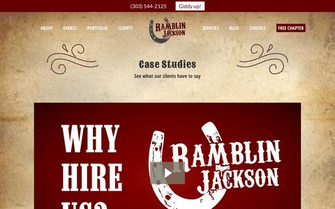 Screenshot of Case Studies Page ramblinjackson.com - Digital Marketing Case Studies - captured Sept. 21, 2018