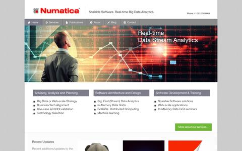 Screenshot of Home Page Site Map Page numatica.com - Numatica Corporation | Scalable Software. Real-time Big Data Analytics - captured Dec. 1, 2016