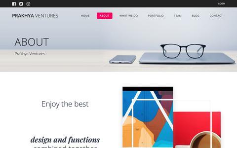 Screenshot of About Page prakhyaventures.com - ABOUT – Prakhya Ventures - captured Nov. 5, 2018