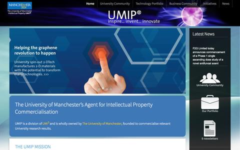 Screenshot of Home Page umip.com - University of Manchester Intellectual Property - captured Sept. 30, 2014