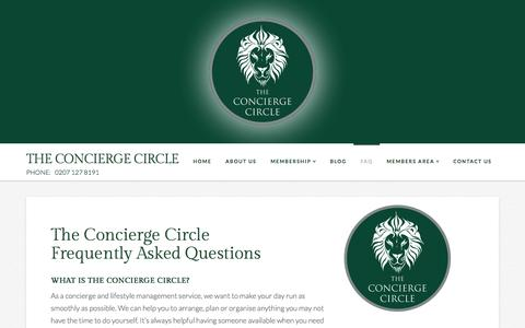 Screenshot of FAQ Page theconciergecircle.com - Frequently Asked Questions | The Concierge Circle London - captured Oct. 1, 2014