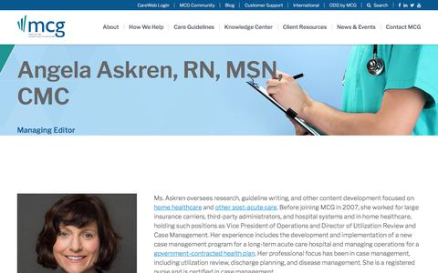 Screenshot of Team Page mcg.com - Angela Askren, RN, MSN, CMC, Managing Editor | MCG Health - captured Feb. 20, 2020
