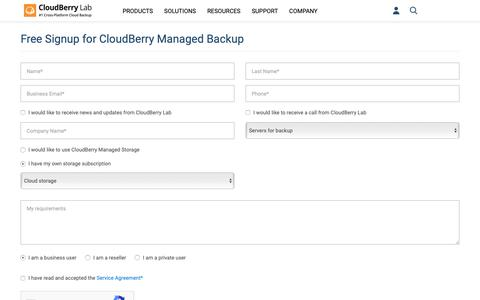 Screenshot of Signup Page cloudberrylab.com - Sign-Up Form for CloudBerry Managed Backup Service | CloudBerry Lab - captured Nov. 19, 2018