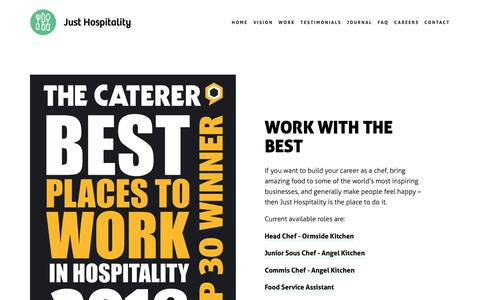 Screenshot of Jobs Page justhospitality.co.uk - Careers — Just Hospitality - captured Oct. 14, 2018