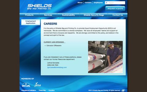 Screenshot of Jobs Page shieldsbag.com - Careers - captured Oct. 26, 2014