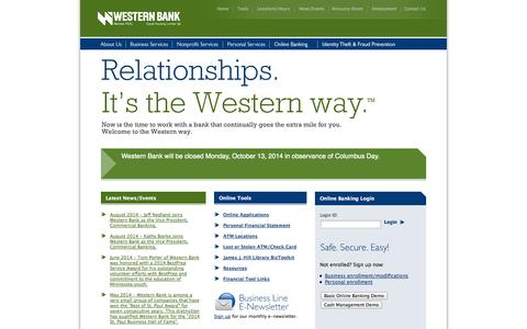 Screenshot of Home Page About Page Privacy Page Contact Page Signup Page Site Map Page Team Page Locations Page western-bank.com - Western Bank - captured Oct. 7, 2014