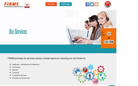Screenshot of Services Page firmsltd.com - debt collection agency services-firmsltd.com - captured Feb. 10, 2016