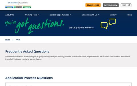 Screenshot of FAQ Page enterprise.com - Frequently Asked Questions - FAQs   Jobs and Careers at Enterprise - captured Nov. 19, 2018