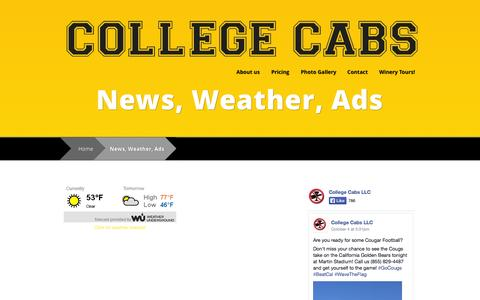 Screenshot of Press Page mycollegecabs.com - News, Weather, Ads   College Cabs - captured Oct. 8, 2014