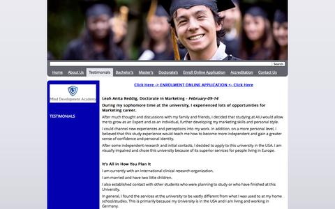 Screenshot of Testimonials Page legaldegree-online.com - Testimonials - Online University - Bachelor, Masters or Doctorate Degrees - Distance Study - captured Oct. 3, 2014