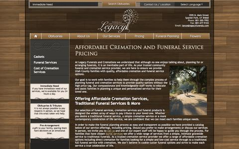Screenshot of Pricing Page legacyfunerals.com - Affordable Cremation and Funeral Service Pricing - captured July 30, 2017