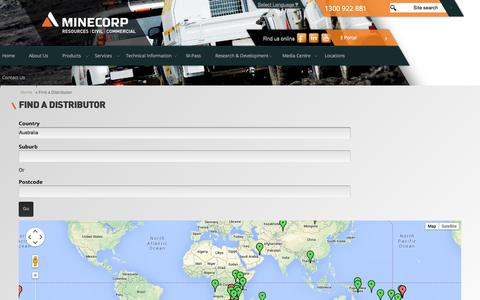 Screenshot of Locations Page minecorp.com - Find a Distributor | Minecorp - captured Oct. 7, 2014
